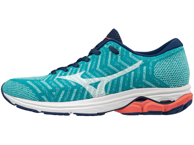Mizuno Waveknit R2 Shoes Damen peacock blue/white/hot coral